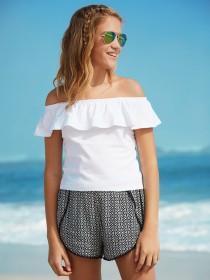 Older Girls Black Tile Print Shorts