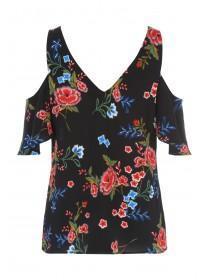 Womens Black Rose V-Neck Cold Shoulder Top