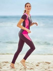 Womens Grey Colour Block Active Leggings