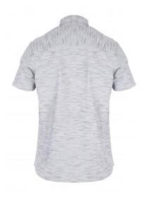 Mens Grey Textured Short Sleeve Shirt