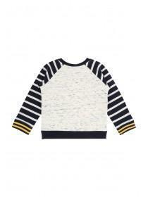 Baby Boy Grey Quilted Crew Neck Sweater