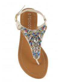 Older Girls White Multi-Jewelled Sandal