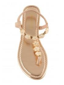 Older Girls Grey Floral Toepost Sandals