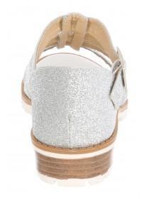 Older Girls Silver Glitter Heeled Sandals