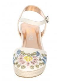 Older Girls White Closed Toe Wedge Shoe