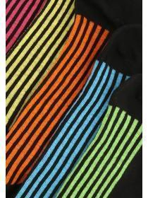 Mens 5PK Black Bright Striped Trainer Socks