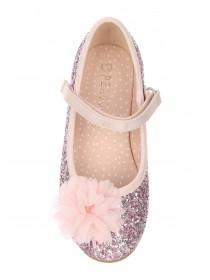 Younger Girls Pink Glitter Corsage Ballet Shoes