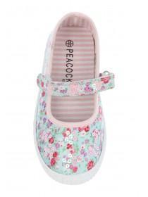 Younger Girls Blue Floral Occasion Shoes
