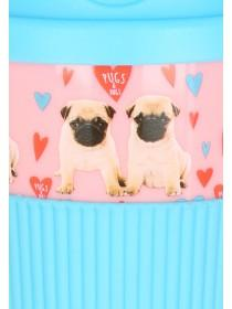 Womens Pink Pugs & Hugs Valentines Coffee Take Out Cup
