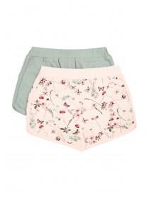 Younger Girls Pink 2PK Botanic Floral Shorts