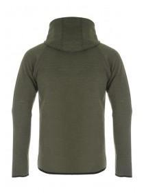 Mens Khaki Bonded Texture Zip Through Hoody