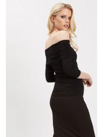 Jane Norman Black Ruched Bardot Top
