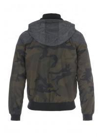 Mens Camo Hooded Bomber Jacket