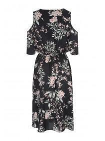 Womens Black Cold Shoulder Midi Dress