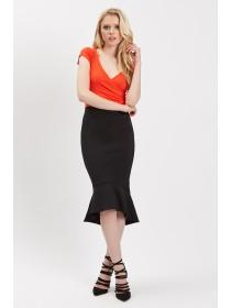 Jane Norman Black Trumpet Hem Skirt