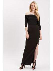 Jane Norman Black Side Split Maxi Skirt