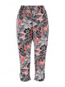 Womens Red Floral Cropped Trousers