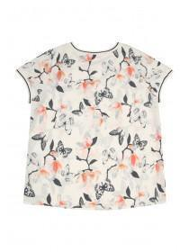 Older Girls Cream Floral Ribbed Sporty Top