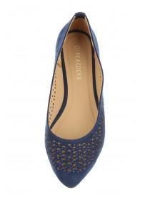 Womens Blue Cut Out Toe Shoe