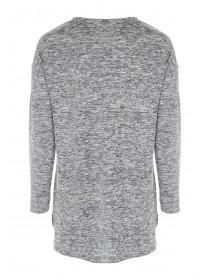 Womens Grey Long Sleeve Step Back Hem Top