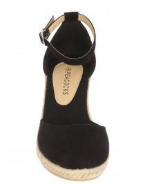 Womens Black Wedge Espadrille