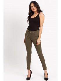 Jane Norman Khaki Popper Cuff Skinny Jeans