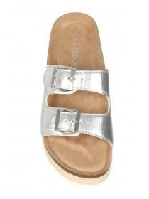 Womens Silver Footbed Sandals