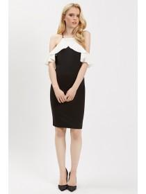 Jane Norman Mono Cold Shoulder Ruffle Dress