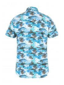 Mens Aqua Hawaiian Islands Shirt