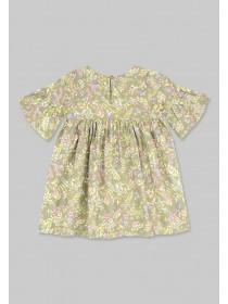 Younger Girls Khaki Floral Dress
