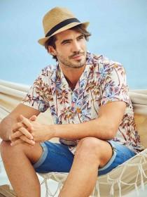 Mens Tan Palm Tree Shirt