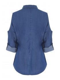 Womens Blue Embroidered Denim Shirt