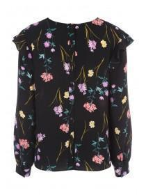 Womens Black Floral Ruffle Shoulder Top