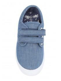 Younger Boys Blue Velcro Canvas Trainers