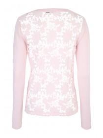 Womens Pink Lace Back Cardigan