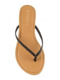 Womens Black Plaited Sandals