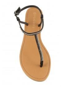 Womens Black Sparkling Toepost Sandal