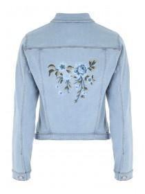 Womens Light Blue Embroidered Back Denim Jacket