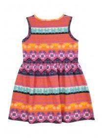 Younger Girls Black Aztec Sleeveless Jersey Dress