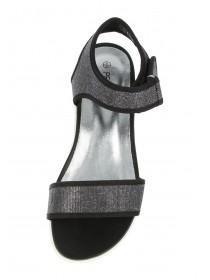 Womens Black Glittery Sports Sandals