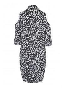 Womens Cold Shoulder Leopard Print Shirt