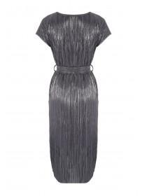Womens Metallic Plisse Dress