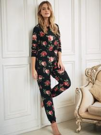 Womens Rose Print Lounge Trousers