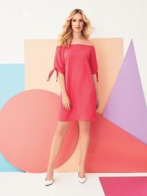Womens Pink Bardot Dress