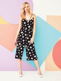 Womens Black Daisy Jumpsuit