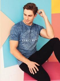 Mens Blue Print T-Shirt