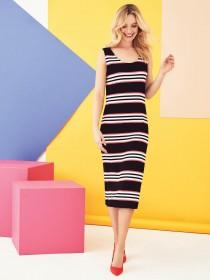 Womens Monochrome Stripe Bar Back Midi Dress