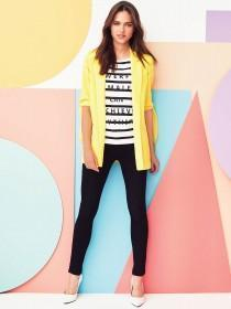 Womens Yellow Tie Sleeve Blazer Jacket
