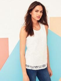 Womens White Lace Front Vest Top