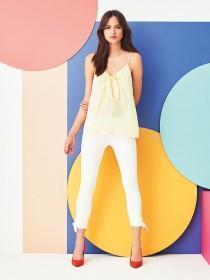 Womens Pale Yellow Tie Front Cami Top
